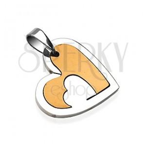 Přívěsek z chirurgické oceli, srdce s výřezem, stříbrná a měděná barva
