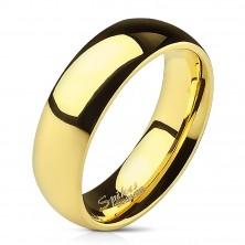 Hladký ocelový prsten ve zlaté barvě - 6 mm