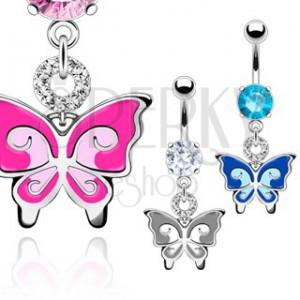 Piercing do břicha - dvoubarevný motýl, zirkony
