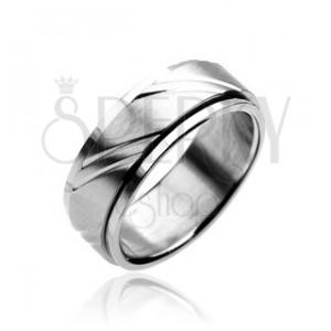 Prsten z chirurgické oceli - dvoudílný, stříbrný, s gravírovaním