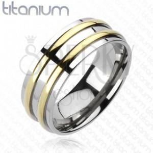 Titanový prsten - stříbrný, dva zlaté pásky