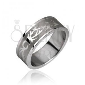 Ocelový prsten - tribal motiv