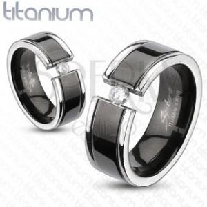 Prsten z titanu - černý pás, zirkon