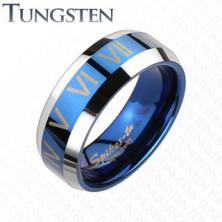 Wolframový prsten - modro-stříbrný, římská čísla