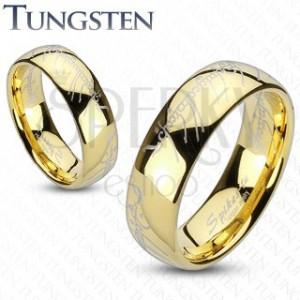 Wolframový prsten - zlatý prsten, motiv Pán prstenů