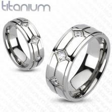 Titanový prsten - kosočtverce, vsazené zirkony