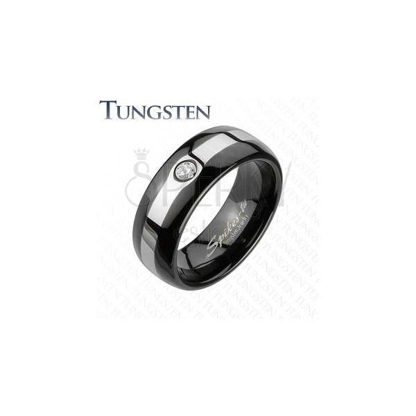 Wolframový černý prsten - stříbrný lem, zirkon