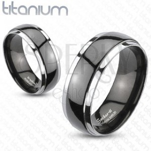 Prsten z titanu - černo-stříbrný