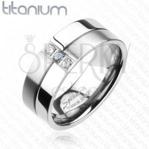 Titanový prsten - lesklé a matné proužky, zirkony