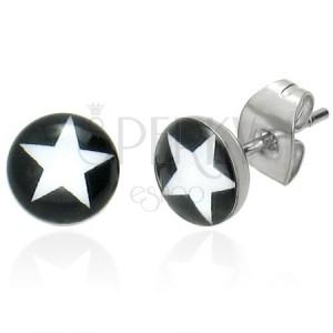 Kulaté náušnice - bílá hvězda