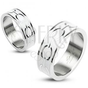 Ocelový prsten - bílý střed s elipsami