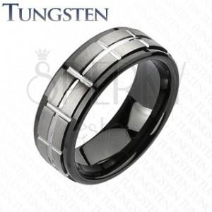 Wolframový broušený prsten, černé okraje