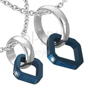 Přívěsky pro dva - modrý čtverec, stříbrný kruh