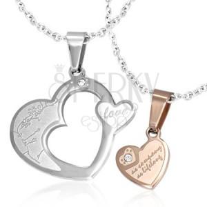 Přívěsky pro dva - zlaté a stříbrné srdce se zirkonem