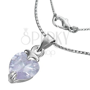 Náhrdelník - zirkonové fialové srdce na řetízku