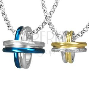Přívěsky pro pár - modré, zlaté a stříbrné kruhy