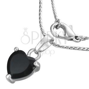 Náhrdelník - černé srdce na řetízku, zirkon
