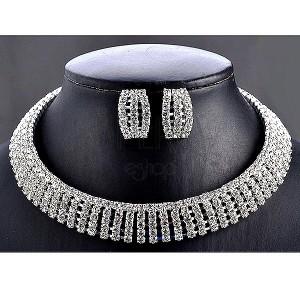 Sada - kulatý náhrdelník a náušnice vykládané zirkony