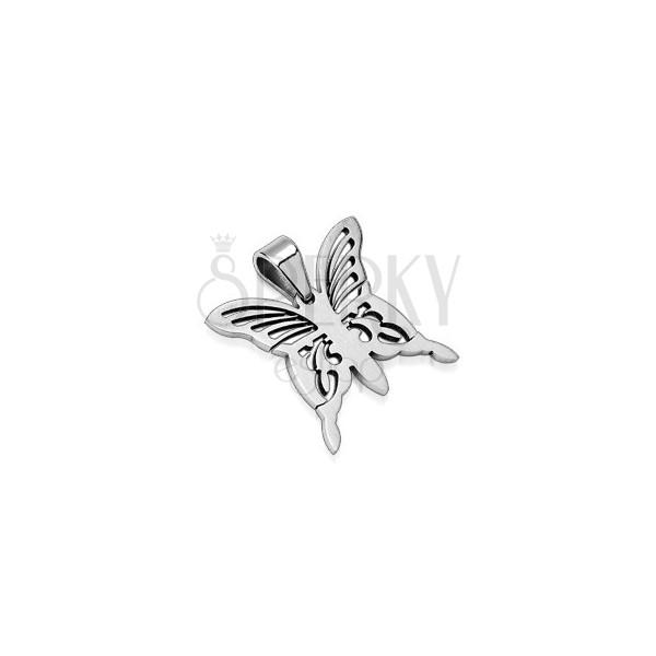 Přívěsek z chirurgické oceli - stříbrný motýl