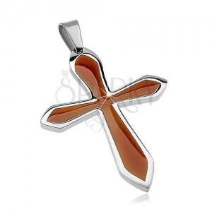 Přívěsek z chirurgické oceli ve tvaru kříže s hnědou glazurou