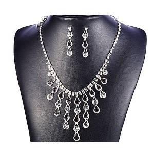 Sada náhrdelník a náušnice - padající slzy, černé a čiré