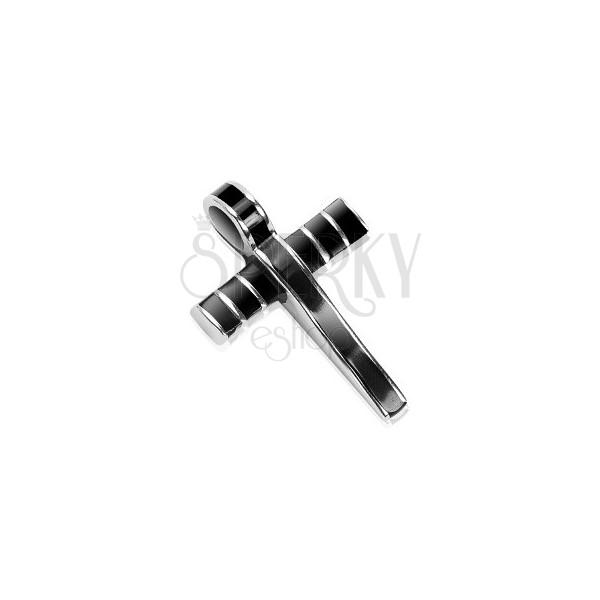 Ocelový přívěsek - mohutný kříž zdobený černou glazurou