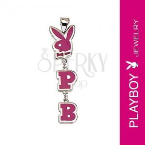 Přívěsek Playboy - zajíček, iniciály P a B, růžový
