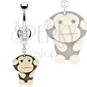 Piercing do břicha - přívěsek Fimo opice