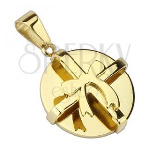 Ocelový přívěsek - zlatý kulatý balíček s mašlí