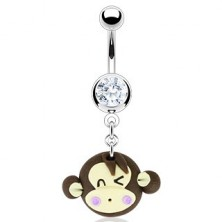 Piercing do pupíku - mrkající Fimo opice