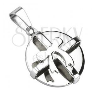 Ocelový přívěsek - stříbrný kulatý balíček s mašlí