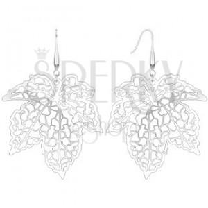 Náušnice - vyřezávaný javorový list