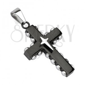 Přívěsek - černý ocelový kříž, stříbrné nýty