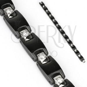 Ocelový černý náramek - články H, čtvercové zirkony