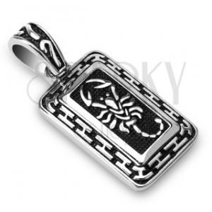 Patinovaný ocelový přívěsek - stříbrný škorpion