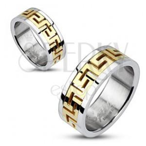 Stříbrný ocelový prsten - zlatý řecký motiv