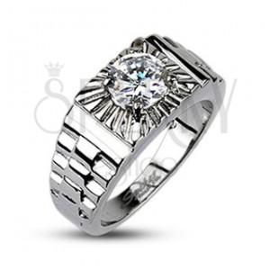 Ocelový prsten - stříbrné paprsky, hodinkový styl