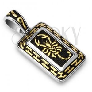 Ocelový přívěsek - zlatý škorpion, patinovaný