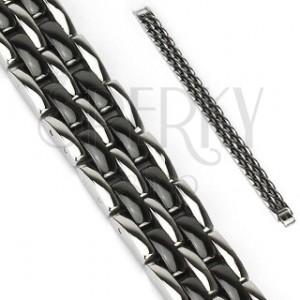 Náramek z oceli - článkované pásy, černé a stříbrné