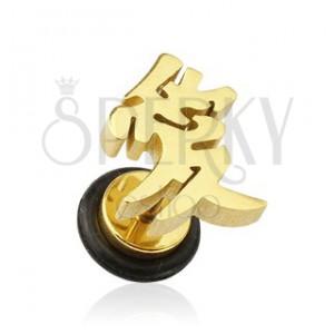 Fake plug do ucha - pozlacený čínský symbol lásky