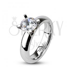 Zásnubní prsten z oceli - vystupující veliký kulatý zirkon