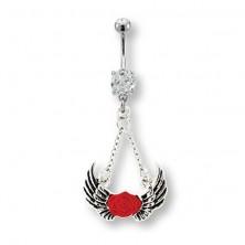 Piercing do bříška andělská křídla a červená růže