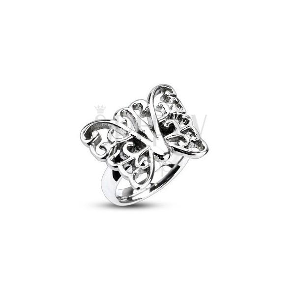 Ocelový prsten - veliký zdobený motýl