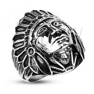 Ocelový prsten - indián Apač, černá patina