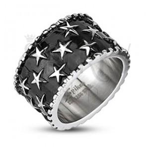 Pánský ocelový prsten - hvězdy na černém podkladu