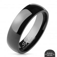 Jednoduchý ocelový prsten - hladký černý povrch, 6 mm
