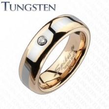 Wolframový prsten - zlato-růžový, sivý pruh, zirkon