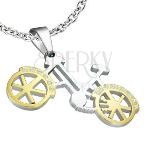Přívěsek - kolo stříbrno-zlaté, drobné zirkony