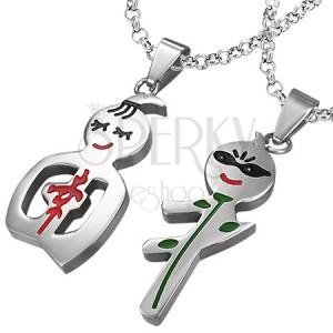 Přívěsky pro dvojici - chlapec a děvče, čínský znak