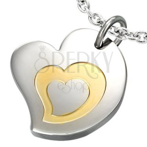 Dvoubarevný přívěsek z chirurgické oceli, motiv - trojité srdce